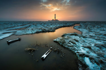 Westerhever Leuchtturm im Schnee